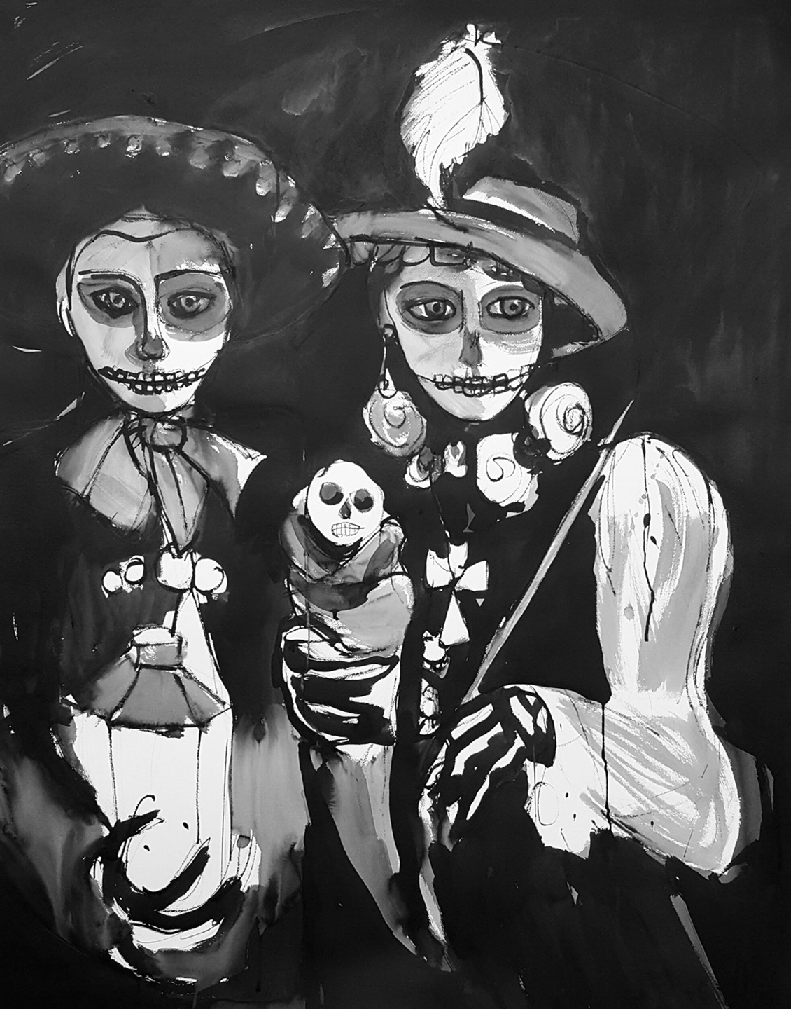 Day of the Dead Couple with their Baby