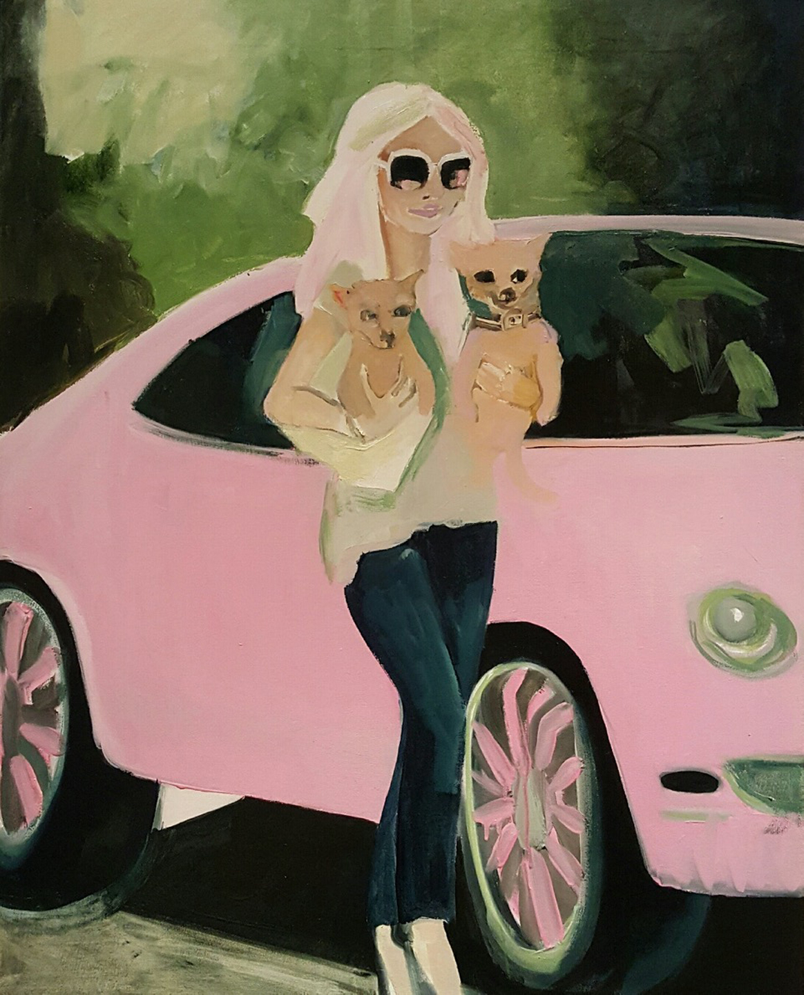 Paris and her Pooches and Pink Car