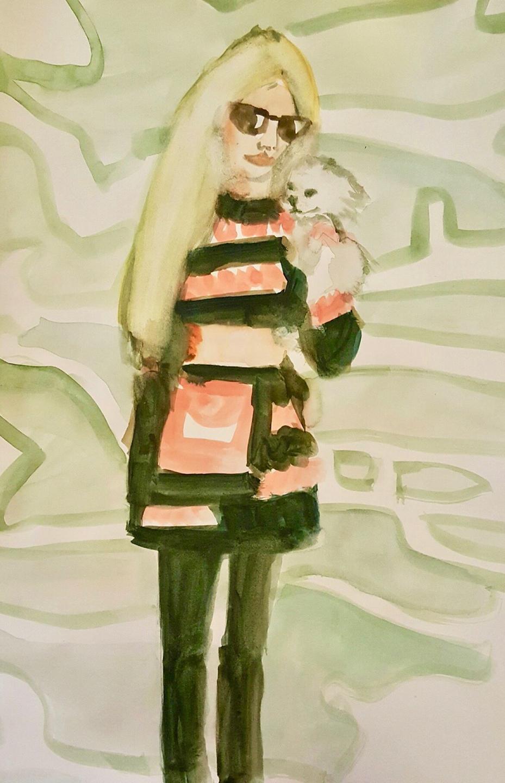 Paris Hilton and her white dog