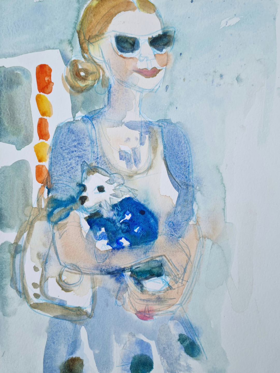 Paris in Blue and her Dog